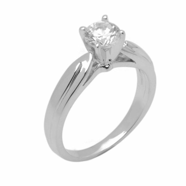 14k Solid Gold Elegant ladies Modern Reverse Tapered Round Solitaire Ring D2107v