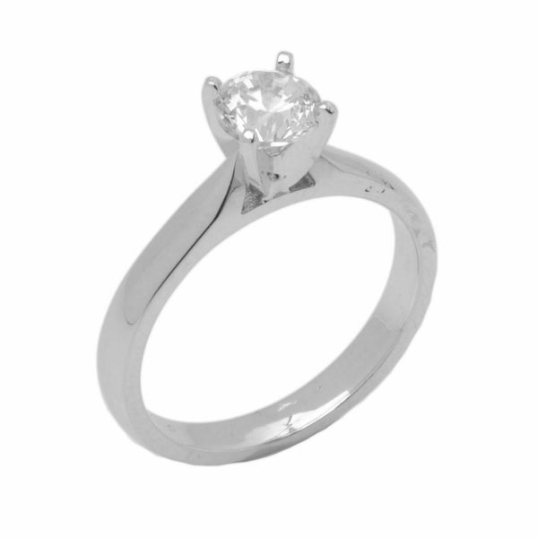 14k Solid Gold Elegant ladies Modern Reverse Tapered Round Solitaire Ring D2024v