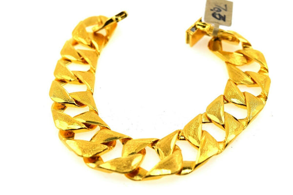 22k Solid Gold ELEGANT MENS BRACELET Simple Curb Design b9980