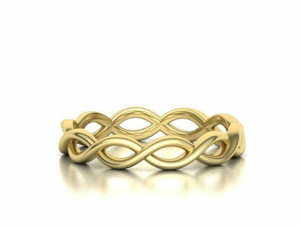 14k Ring Solid Yellow Gold Ladies Jewelry Elegant Simple Weave Band CGR69
