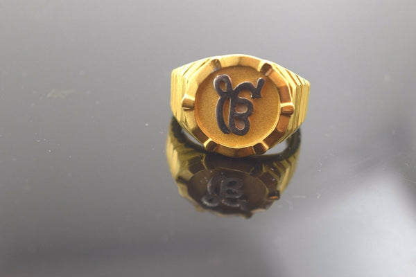 "22k Solid Gold ELEGANT EK ONKAR MENS Ring Religious ""RESIZABLE"" R300"