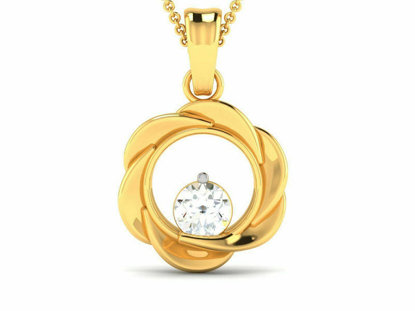 22k Solid Yellow Gold Ladies Jewelry Elegant Round Floral Pendant CGP26