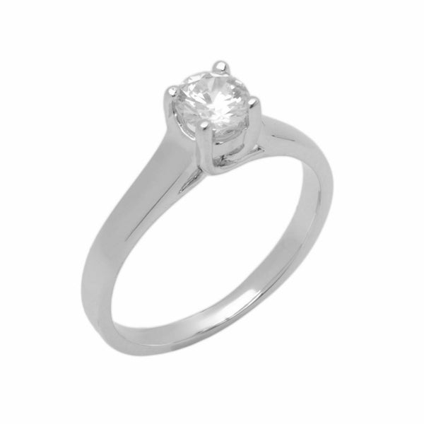 14k Solid Gold Elegant Ladies Modern Tapered Round Solitaire Ring D2054v