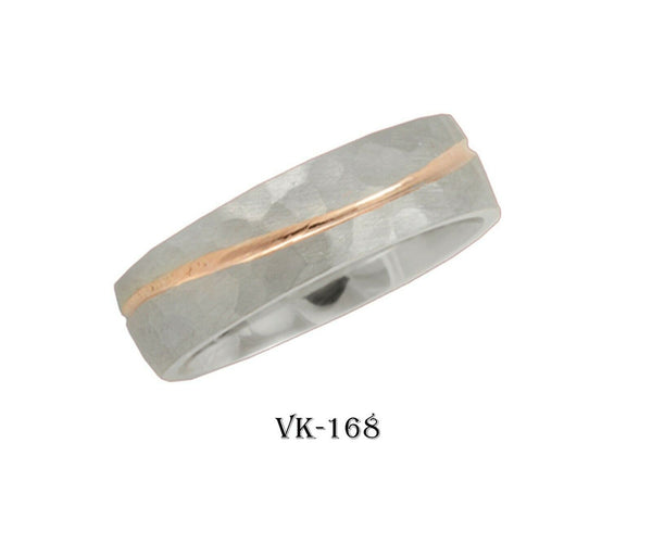 14k Solid Gold Elegant Ladies Modern Hammered Finish Flat Band Ring VK168v