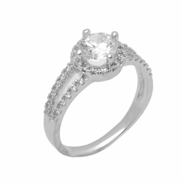 14k Solid Gold Elegant ladies Modern Pave Round Solitaire Ring D2038v