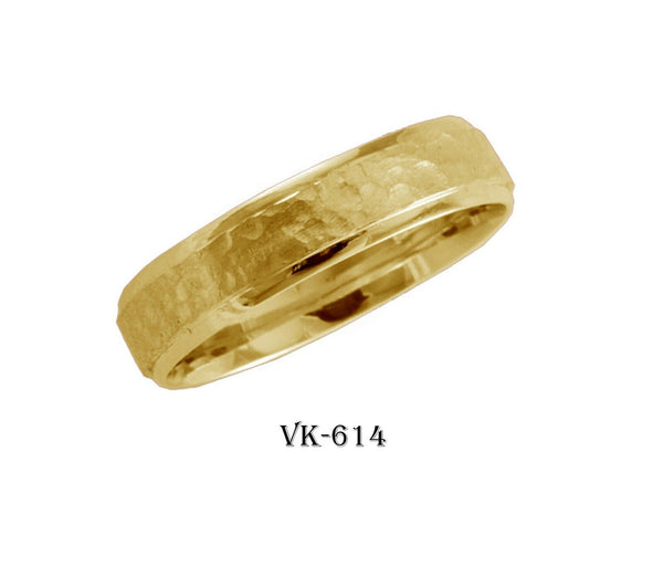 14k Solid Gold Elegant Ladies Modern Hammer Finish Flat Band 5mm Ring VK614v(Y)