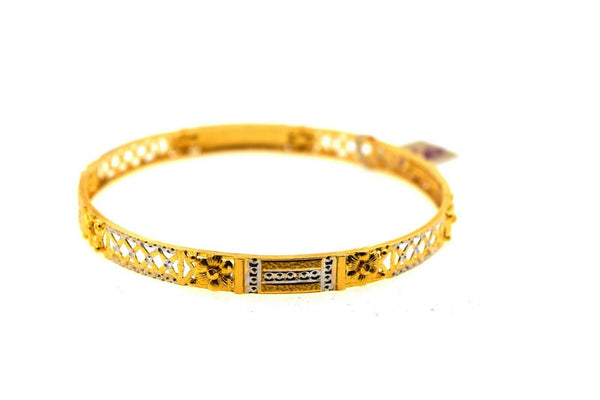 22k Solid Gold Ladies Bangle Two Tone Geometric Design br60z