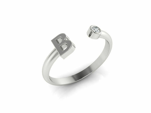 18k Ring Sold White Gold Ladies Jewelry Modern B Letter Design CGR54W