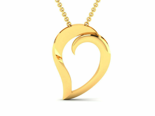 22k Solid Yellow Gold Ladies Jewelry Elegant Heart Shape Pendant CGP28