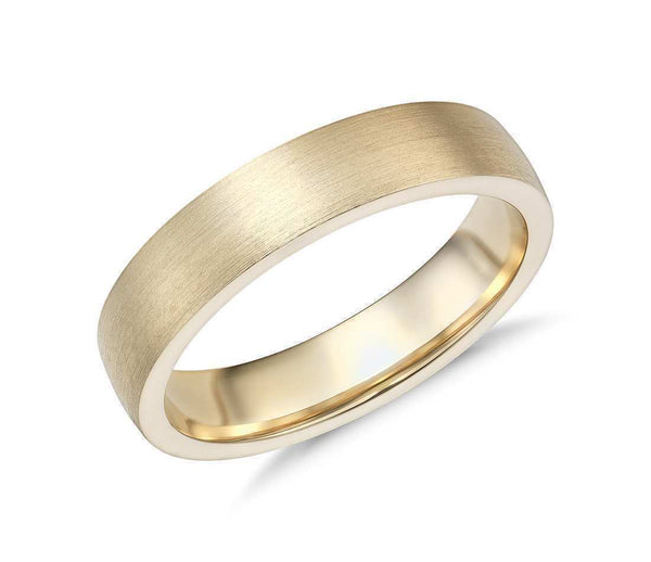 14k Solid Gold Matte Low Dome Comfort Fit Wedding Ring 5mm Custom Size Available