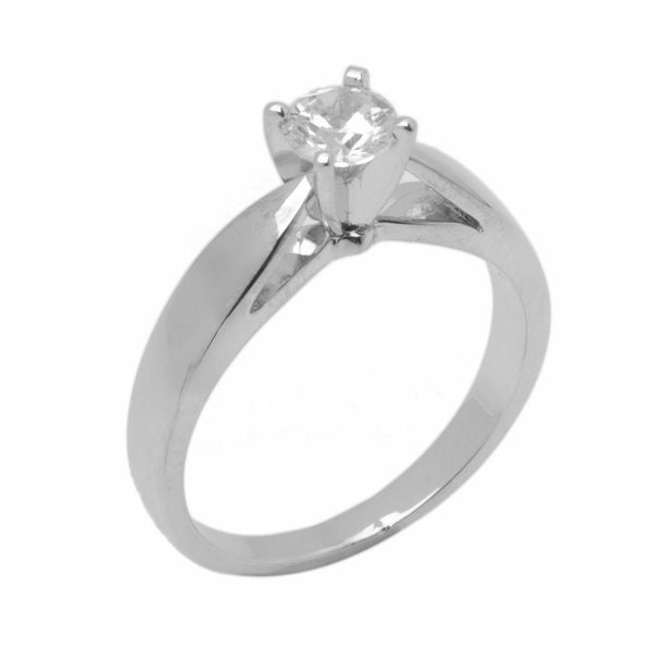 14k Solid Gold Elegant ladies Modern Reverse Tapered Round Solitaire Ring D2105v