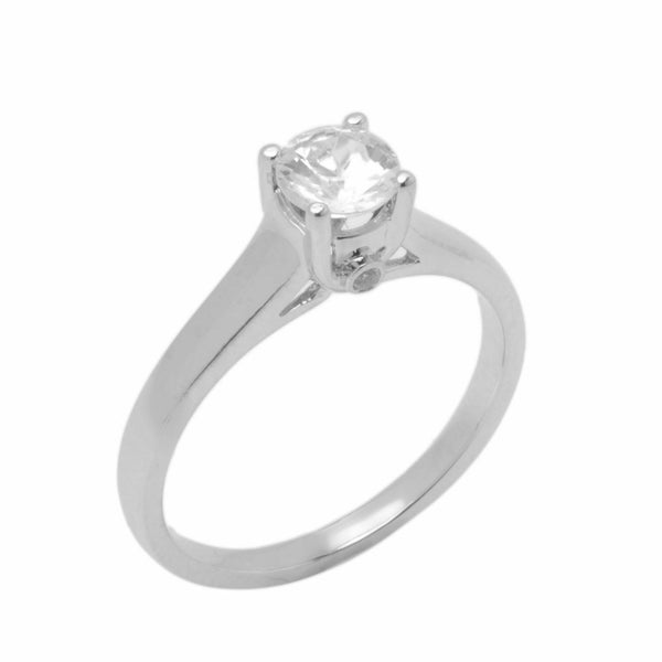 14k Solid Gold Elegant Ladies Modern Tapered Round Solitaire Ring D2053v