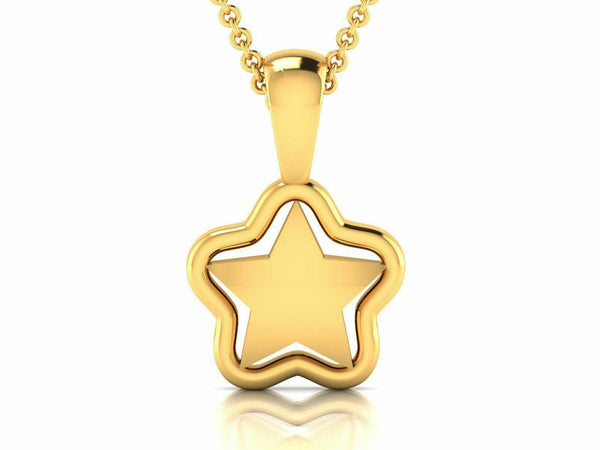 22k Pendant Solid Yellow Gold Ladies Jewelry Elegant Star Design GP14