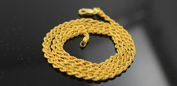 22k Chain Yellow Solid Gold Chain Necklace SImple Rope Design 0.10mm c182 mf