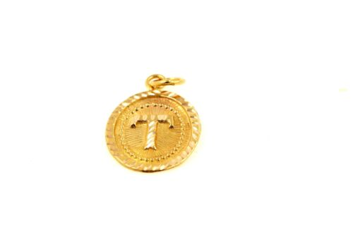 22k 22ct Solid Gold Charm Letter T Pendant Oval Design p1471 ns