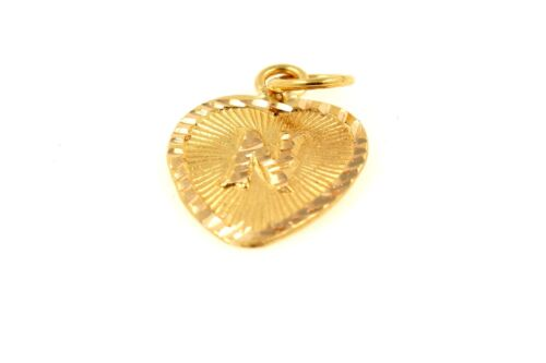 22k 22ct Solid Gold Charm Letter N Pendant Heart Design p1186 ns