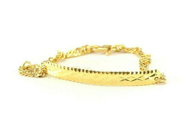 22k Bracelet Solid Gold Simple Children Plain Diamond Cut Bracelet cb1351