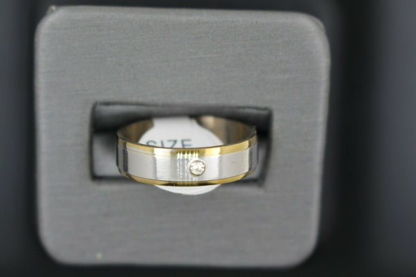 18k Solid Gold Elegant Ladies Modern Matte Finish with Zirconia Band Ring R9042m