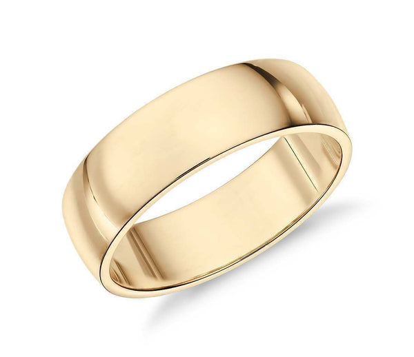 14k Solid Gold Low Classic Wedding Ring 6mm Custom Size Available