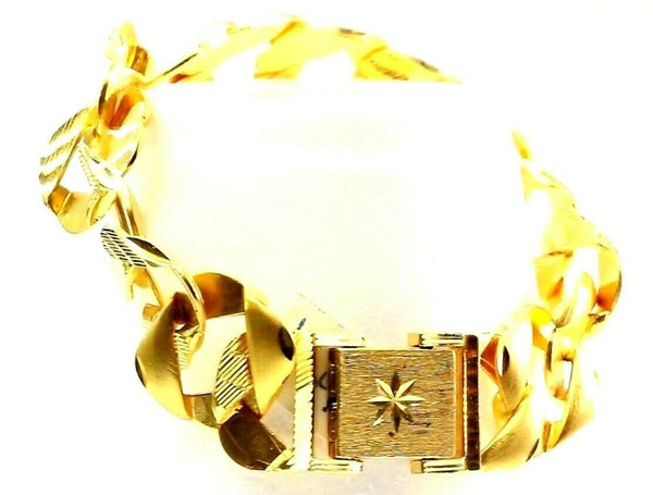22k Bracelet Solid Gold Mens Heavy Strong Curb Link Diamond Cut Design b649
