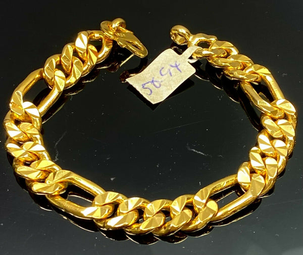 22k Bracelet Solid Gold Elegant Men High Polished Curb Chain Link Design B282