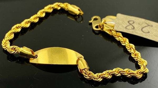 22k Bracelet Solid Gold Children Jewelry Simple Plate Rope Link Design CB1161