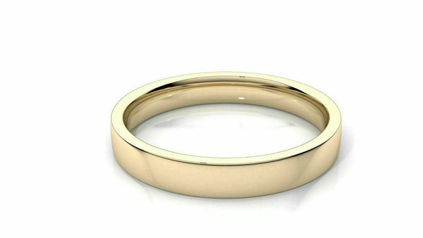 "18k Solid Gold 3mm Comfort Fit Wedding Flat Band in 18k Yellow Gold ""All sizes """