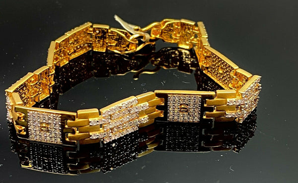 22k Bracelet Solid Gold Elegant Men Rectangular Link With Stones Design B285