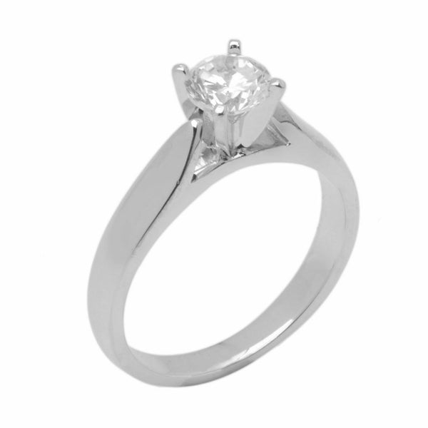 18k Solid Gold Elegant Ladies Modern Reverse Tapered Round Solitaire Ring D2021v