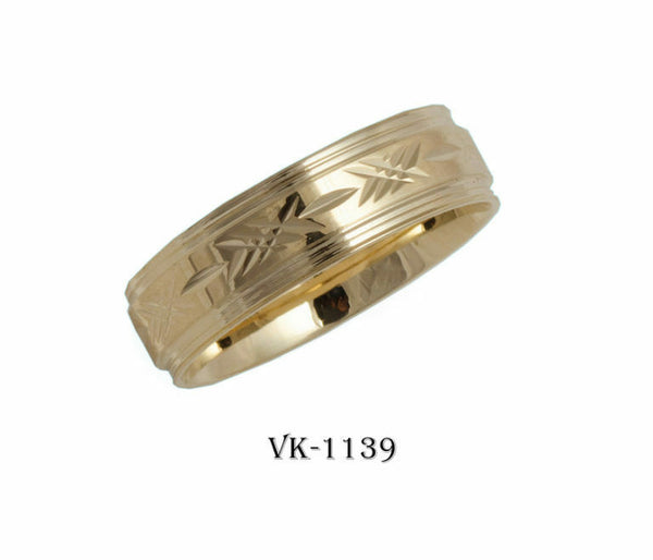 14k Solid Gold Elegant Ladies Modern Machine Finished Flat Band 6mm Ring VK1139v