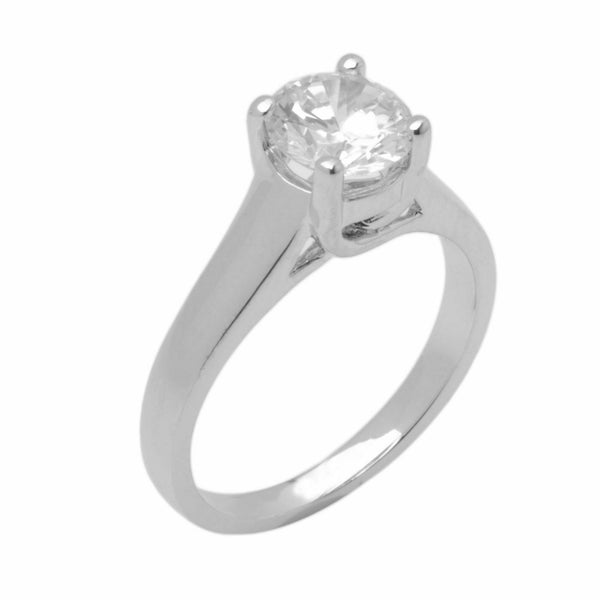 14k Solid Gold Elegant ladies Modern Tapered Round Solitaire Ring D2115v