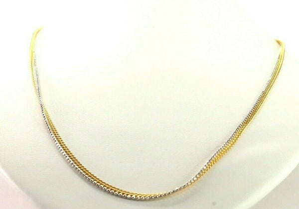 22k Chain Yellow Solid Gold Necklace Two Tone Design Charm Length 20 inch c936
