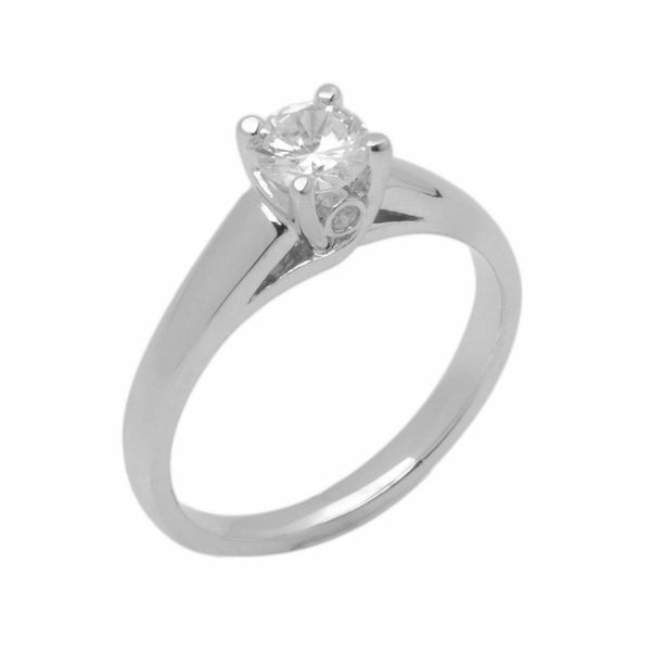 18k Solid Gold Elegant ladies Modern Tapered Round Solitaire Ring D2047v