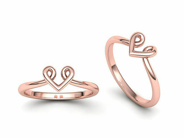 14k Ring Solid Rose Gold Ladies Jewelry Elegant Simple Heart V Shape CGR68R