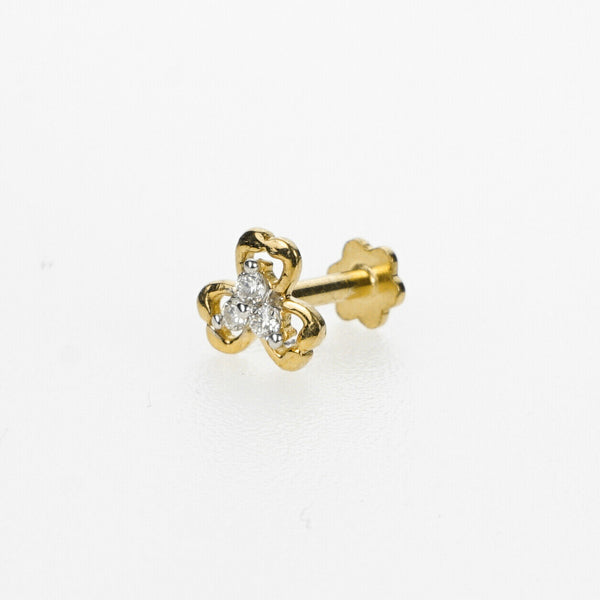 18k Stunning Modern Diamond Solid Gold Nose pin Unique Design Comfort Fit NP102