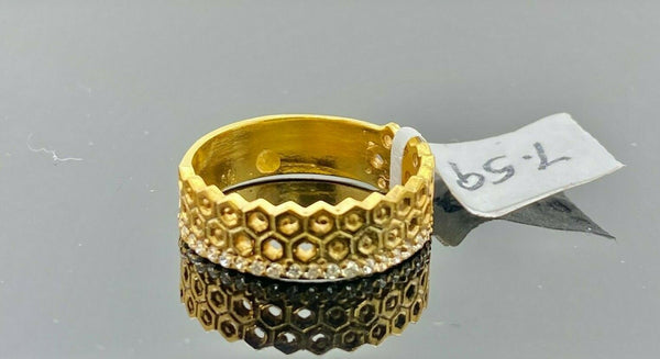 "22k Ring Solid Gold ELEGANT Charm Ladies Band SIZE 7.5 ""RESIZABLE"" r2919mon"