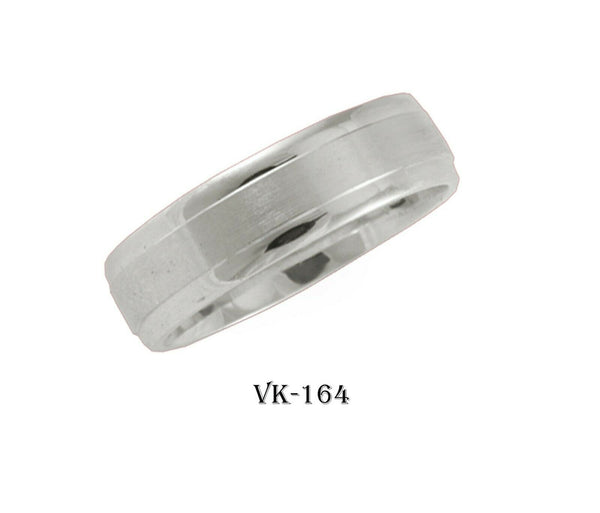 18k Solid Gold Elegant Ladies Modern Matte Finishes Flat Band 6MM Ring VK164v