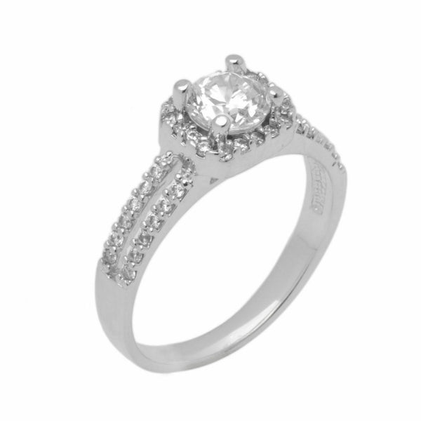 14k Solid Gold Elegant ladies Modern Pave Round Solitaire Ring D2016v