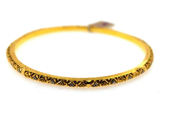 22k Solid Gold Ladies Bangle Two Tone Floral Insert Design br115z
