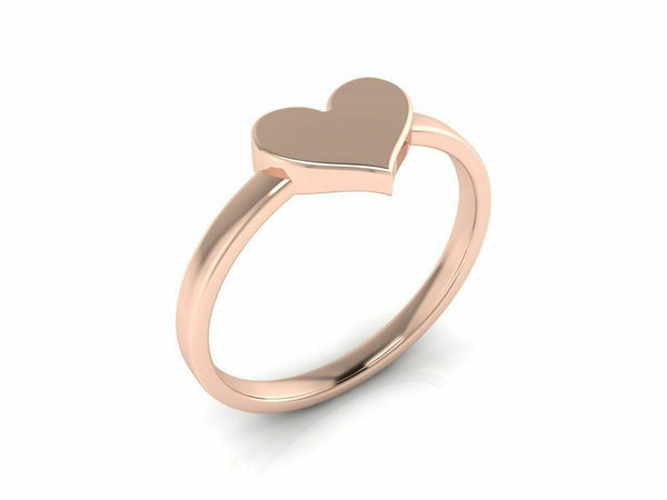 18k Solid Rose Gold Ladies Jewelry Modern Band with Heart Design CGR58R