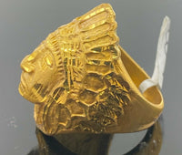 "22k Ring Solid Gold ELEGANT Charm Chief Native Indian Ring ""RESIZABLE"" r2035mon"