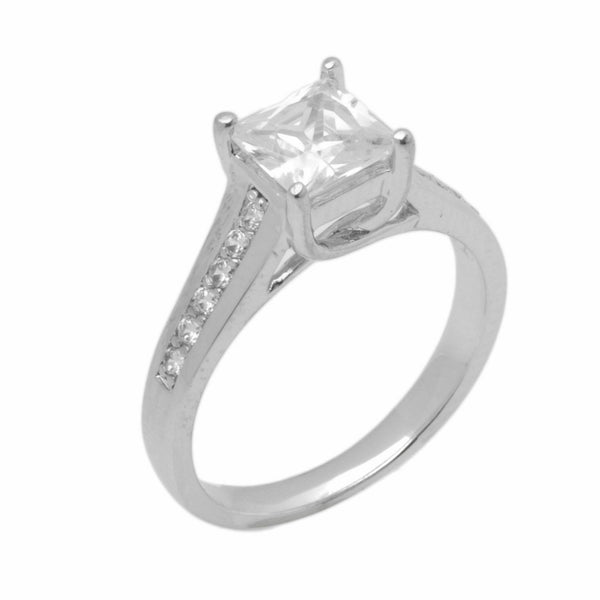 14k Solid Gold Elegant ladies Modern Tapered Square Solitaire Ring D2039v