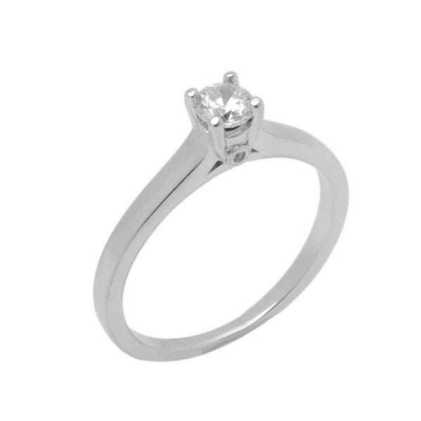 18k Solid Gold Elegant Ladies Modern Prong Round Solitaire Ring D2050v