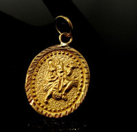 22ct 22k SOLID GOLD Hammer Carved Hindu God HANUMAN Beautiful Pendant p1031 ns
