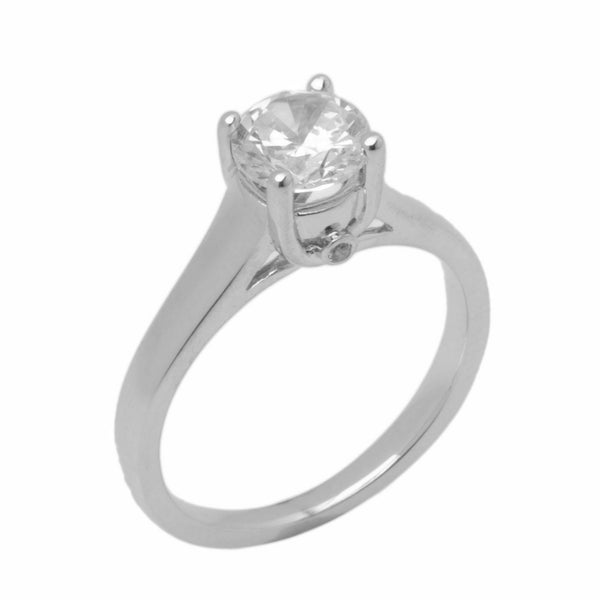 18k Solid Gold Elegant Ladies Modern Flair Round Solitaire Ring D2096v