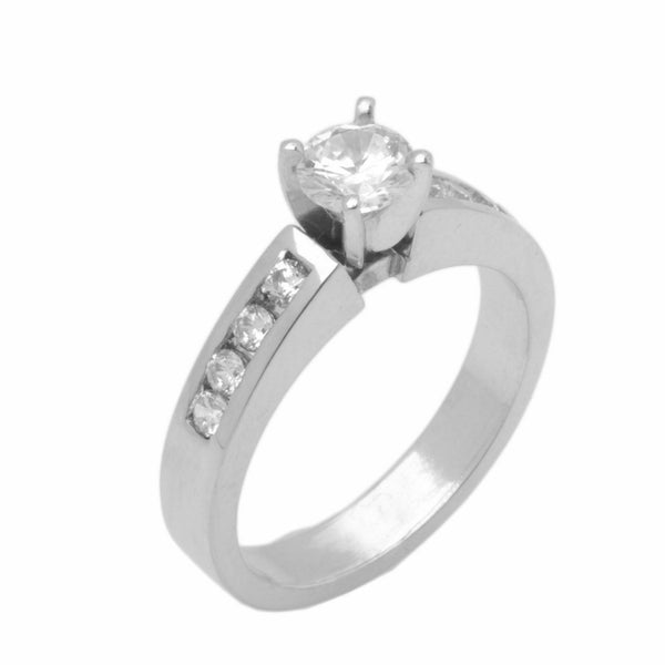 14k Solid Gold Simple Ladies Modern Prong with Channel Solitaire Ring D2138v