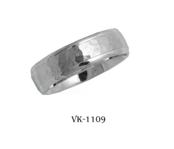14k Solid Gold Elegant Ladies Modern Hammer Finished Flat Band 6MM Ring VK1109v