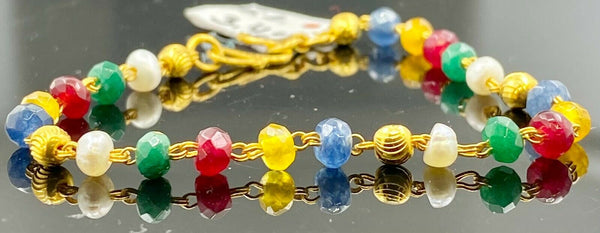 22k Bracelet Solid Gold Children Jewelry Simple Multi Color Stone Design CB1163