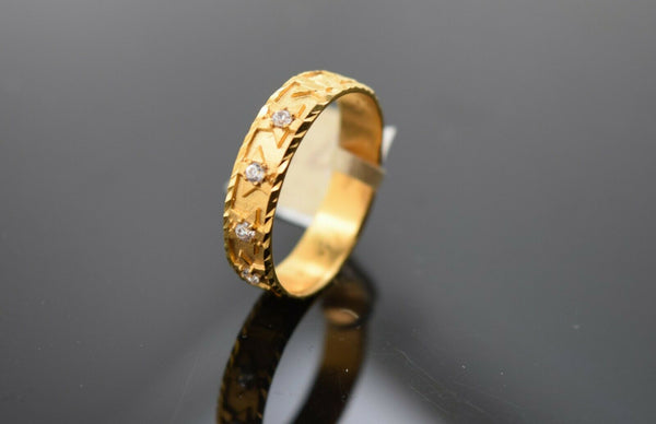 22k Ring Solid Gold Ring Ladies Jewelry Modern Star Insert With Stones R1770