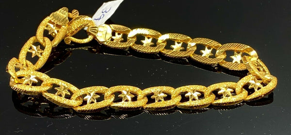 22k Bracelet Solid Gold Elegant Men Oval Link With Star Inserts Design B873